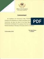 Communiqué du bureau de la présidence de la république