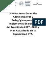 ORIENTACIONES GENERALES PARA LA IMPLEMENTACIÓN DEL BTA 2017- 2018