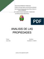 Analisis de Las Propiedades