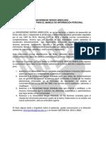 Ficha Autorización Manejo de Información Personal