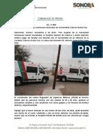 09-11-19 Atiende Salud Sonora a personas lesionadas en volcamiento Caborca-Santa Ana