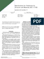 ACI 117-90 Tolerances Concrete