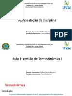 Aula 1 -Revisão de Termodinamica I