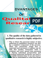 Disadvantages of Qualitatitve Research
