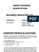 Reliance industries training presentation