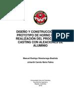 Diseño y Construcción de Un Prototipo de Horno Para La Realización Del Proceso Stir Casting Con A