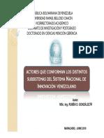 Actores Del Subsistema Sni en Venezuela_def15062019
