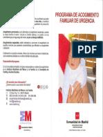 Programa de acogimiento familiar de urgencia. Comunidad de Madrid