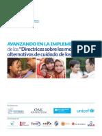 Avanzando en la Implementación de las Directrices sobre las modalidades alternativas de cuidado de los niños. UNICEF