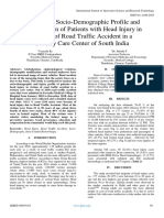 A Study on Socio-Demographic Profile and  Injury Pattern of Patients with Head Injury in  Victims of Road Traffic Accident in a  Tertiary Care Center of South India