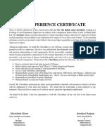 Experiance Certificate