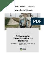 Cronograma de Las XI Jornadas Estudiantiles de Historia.18,19 y 20 de Noviembre 2019