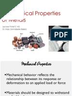 Mechanical Properties of Metals - Lecture 9, MetE 143