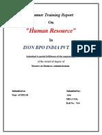 "Summer Training Report On ""Human Resource"" In ISON BPO INDIA PVT. LTD."