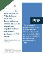 AZEVEDO, Maria Cristina N. de. O Processo de Implantação Da Vila de Baependi Como Estudo de Caso