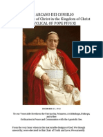 UBI ARCANO DEI CONSILIO on the Peace of Christ in the Kingdom of Christ ( Pope Pius XI )