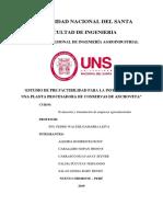 Estudio de Pre Factibilidad Para La Instalación de Una Planta Procesadora de Conservas de Anchoveta