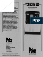 Polar Instruments Toneohm 550 Operation Manual