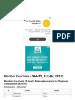 Saarc, Asean, Opec - Member Countries