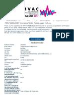 IMVAC Middle East 2017 - International Machine Vibration Analysis Conference