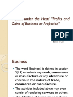 Income Under the Head Business and Profession