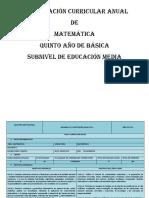 Pca 5to Matemática
