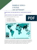 Gcse Geogarphy Ocr b - Population and Settlement