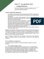 Chapitre 5 La Gestion Des Competences