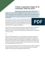 IVA Sobre Cervezas y Gaseosas Luego de La Ley de Financiamiento 1943 de 2018