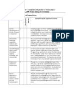 university learning objectives worksheet