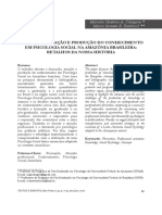Formação, atuação e produção de conhecimento em psicologia social na amazônia