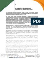 SE E MITE RECOMENDACIÓN A LA PDTA DE ACATLÁN DE OSORIO