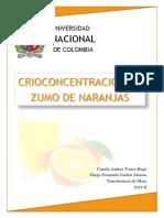 Informe - crioconcentración en zumo de naranja