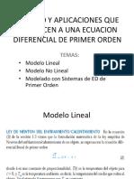 Modelo y Aplicaciones Que Conducen a Una Ecuacion