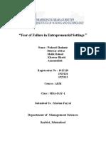 Fear of Failure in Entrepreneurial Settings