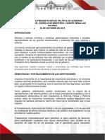 Discurso de Presentación de Política de Gobierno 30 Octubre 2019