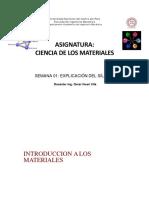 Semana 1- Introducción a Ciencia de Los Materiales