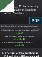 Problem Solving Linear Equation