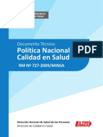 RM Nº727-20097MINSApolitica Nacional de Calidad en Salud-documento Tecinoc