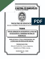 TIPOS DE LIDERASGOS EN LOS DOCENTES DE HUANCAVELICA