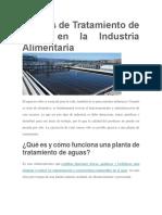 Plantas de Tratamiento de Agua en La Industria Alimentaria