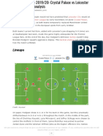 Premier League 2019 20 Crystal Palace vs Leicester City Tactical Analysis
