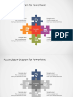 FF0056 Flat Puzzle Jigsaw Powerpoint Diagram 4x3
