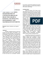 The Impact of Using Smartphones on Cognitive Skills of Selected Grade 11 Science, Technology, Engineering, And Mathematics Students