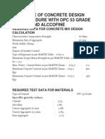 m60 Grade of Concrete Design Mix Procedure With Opc 53 Grade Cement and Alccofine