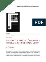 """Una lectura de """"La lógica de la castración"""" en el Seminario V Vilma Coccoz"""