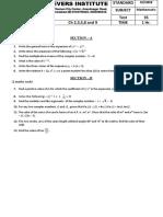 Maths Std 11 Half Yearly Course