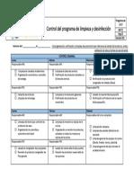Control Del Programa de Limpieza y Desinfección - Semanal