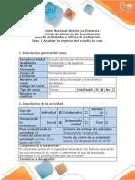 Guía de Actividades y Rubrica de Evaluación. Paso 1. Analizar La Empresa de Estudio de Caso.