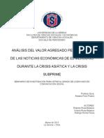 ANÁLISIS DEL VALOR AGREGADO PERIODÍSTICO DE LAS NOTICIAS ECONÓMICAS DE EL MERCURIO DURANTE LA CRISIS ASIÁTICA Y LA CRISIS SUBPRIME